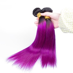 1B Purple Ombre Two Tone Human Hair Bundle Straight Hair Weave 7A 3pcs Ombre Purple Mongolian Hair Silk Straight Weft Hair Extension