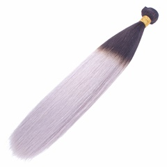 NEW Grey Mongolian Hair Weave Ombre Grey Hair Straight Grey Hair Extensions 1B Grey Two Tone Ombre Virgin Hair Silk Straight Weft Hair Extension