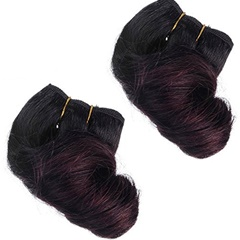 Indian Ombre Hair Extensions With Short Spring Curly 1B 99j Two Tone Curly 7A Virgin Indian Human Hair Weave Short Weft Hair Extensions