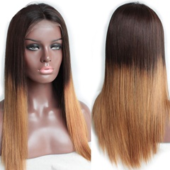 Grace Fantasy Brown to Blonde Straight Brazilian Straight Lace Front Wigs Human Hair With Baby Hair Glueless Lace Front Wigs Remy Human Hair Wigs For Black Women Pre Plucked Wig