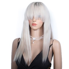 Grace Fantasy Black to Grey Brazilian Straight Lace Front Wigs Human Hair With Baby Hair Glueless Lace Front Wigs Remy Human Hair Wigs For Black Women Pre Plucked Wig