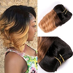 Fashion Mongolian Unprocessed Virgin Human Hair With Spring Curly 1B #27 Two Tone Color Ombre Mongolian Weave Hair Short Weft Hair Extension