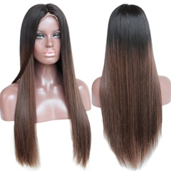 Grace Fantasy Black to Brown Brazilian Straight Lace Front Wigs Human Hair With Baby Hair Glueless Lace Front Wigs Remy Human Hair Wigs For Black Women Pre Plucked Wig