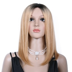 Grace Fantasy Black to Blonde Short Brazilian Straight Lace Front Wigs Human Hair With Baby Hair Glueless Lace Front Wigs Remy Human Hair Wigs For Black Women Pre Plucked Wig