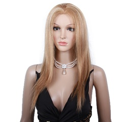 Grace Fantasy Blonde Brazilian Virgin Human Hair Lace Front Wigs for Black Women Long Straight Pre Plucked Glueless Human Hair Wigs With Baby Hair And Bleached knots