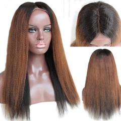 Grace Fantasy Black to Blonde Brazilian Virgin Human Hair Lace Front Wigs for Black Women Long Yaki Straight Pre Plucked Glueless Human Hair Wigs With Baby Hair And Bleached knots
