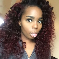 Grace Fantasy Black to Red Wine Brazilian Virgin Human Hair Lace Front Wigs for Black Women Long Kinky Curly Pre Plucked Glueless Human Hair Wigs With Baby Hair And Bleached knots