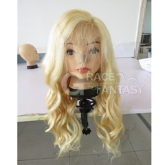 Grace Fantasy Virgin Human Hair Lace Front Blonde Wig with Baby Hair for Women Glueless Swiss Frontal Lace Free Part Long Brazilian Hair Pre-plucked #613 Bleach Blonde
