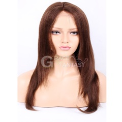 Grace Fantasy Brown Lace Front Wigs Human Hair Straight Brazilian Virgin Human Hair Wigs Natural Color Pre Plucked Glueless Lace Wigs Human Hair with Baby Hair for Women
