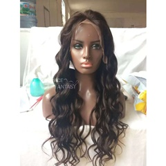 Grace Fantasy Long Black blonde water wave Wig Hair Lace Front Wigs with heat resistant human hair replacement wig half hand for women 24 inch