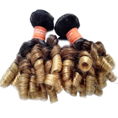 Grace Fantasy Black to Blonde Virgin Funmi Hair Loose Wave Spiral Curl Hair Bundles Short Curly Body Weave Unprocessed Indian Human Hair Extensions 50g/pc Full Head Natural Color