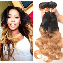 Grace Fantasy Black to Brown to Blonde  #1B/4/27 Virgin Human Hair Body Wave  Spiral Curl Hair Bundles Weave Unprocessed Mongolian Human Hair Extensions 50g/pc Full Head Natural Color