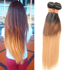 Grace Fantasy Black to Brown to Blonde  Virgin Straight Human Hair 4 Bundles  Hair Bundles Long Straight Weave Unprocessed Mongolian Human Hair Extensions 50g/pc Full Head Natural Color