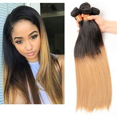Grace Fantasy Black to Brown to Blonde Ombre Hair Extensions Remy Hair Extensions Human Hair Glueless Extensions Brazillian Color #1B/4/27 Fading Hair Extensions