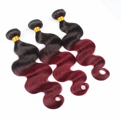 Grace Fantasy Black to Red Ombre Hair Extensions Body Wave Remy Hair Extensions Human Hair Glueless Extensions Brazillian Color #1B/30 Fading Hair Extensions