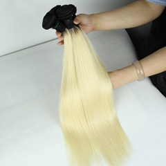 Grace Fantasy Ombre Remy Weft Human Hair Extensions Silky Straight For Black Women 100% Human Hair Clip ins Two Tone Black to Blonde Full Head
