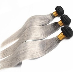 Grace Fantasy Black to Grey Ombre Remy Weft Human Hair Extensions Silky Straight For Black Women 100% Human Hair Clip ins Two Tone #1B/grey Full Head