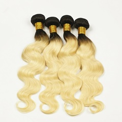 Grace Fantasy Ombre Remy Weft Human Hair Extensions Natural Body Wave For Black Women 100% Human Hair Clip ins Two Tone Black to Blonde Full Head