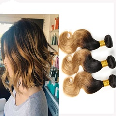 Grace Fantasy Hair Black to Blonde Brazilian Body Wave Hair Virgin Human Hair Weft Extensions 3 Bundles T1B/27 Ombre Color 100% Unprocessed Body Wave