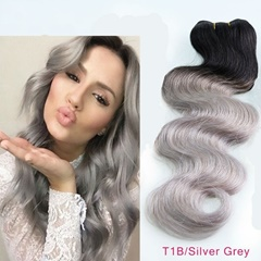 Grace Fantasy Hair Weft Bundles Virgin Mongolian Human Hair Body Wave 3 Weaves Bundles 100% Unprocessed Hair Extensions Black to Silver Grey Color
