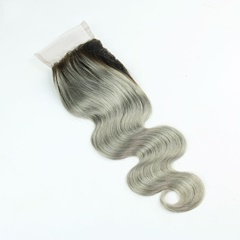 Grace Fantasy Two Tone Black to Grey Body Wave Lace Closures with Bleached Knots Free Part Natural Black to Grey human virgin Hair Lace Top Closure