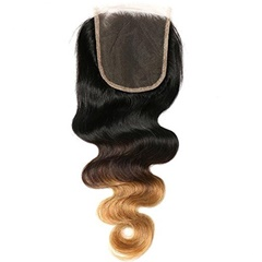 Grace Fantasy #1B/27  Two Tone Body Wave Lace Closures with Bleached Knots Free Part Natural Black To Blonde human virgin Hair Lace Top Closure
