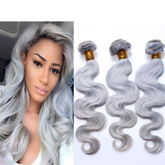 Grace Fantasy Human Hair Bundles Virgin Grey Malaysian  Human Hair Body Wave Weft  Bundles 100% Unprocessed Hair Extensions Grey Color