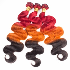 Grace Fantasy Human Hair Bundles Virgin Mongolian Human Hair Body Wave Weft  Bundles 100% Unprocessed Hair Extensions Red to Orange to Black Color