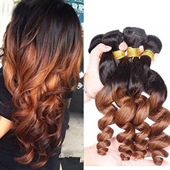 Grace Fantasy Brazilian Human Hair Loose Wave Black to Brown Hair Bundles Cheap Brazilian Human Hair 100 Human Virgin Hair Extensions 8A Grade Natural Black Color