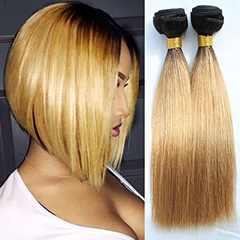 Grace Fantasy Indian  Human Hair Silky Straight  Hair Bundles Cheap Indian Weft  Hair Weave 100%  Human Virgin Hair Extensions 8A Grade Natural Black to Blonde Color