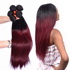 Grace Fantasy Mongolian  Human Hair Straight  Hair Bundles Cheap Mogolian Weft Hair Weave 100%  Human Virgin Hair Extensions 8A Grade Natural Black to Burgundy Color