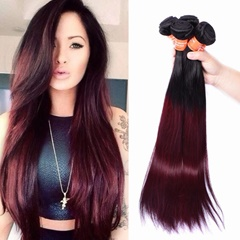 Grace Fantasy Mongolian  Human Hair Straight Hair Bundles Cheap Mongolian Weft Hair Weave 100% Human Virgin Hair Extensions 8A Grade Natural Black to Burgundy Color