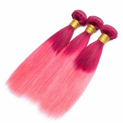 Grace Fantasy Brazilian Human Hair Straight Hair Bundles Cheap Brazilian Weft Hair Weave 100% Human Virgin Hair Extensions 8A Grade Natural Red to Pink  Color