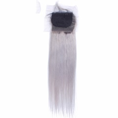 Dark Root to Grey  Lace Frontal Closures 4''x4'' Slightly Bleached Knots Brazilian lace closure Straight  Free part Blonde Top Hair Closure