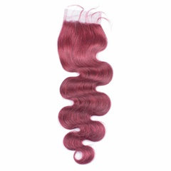 Grace Fantasy 99j Burgundy Body Wave Lace Closures with Bleached Knots Free Part Natural 99j Burgundy human virgin Hair Lace Top Closure