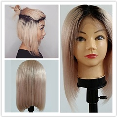 Grace Fantasy Ombre Lace Front Wig BOB Style Remy Human Hair Glueless Short Natural Black to Blonde with Baby Hair Silky Straight for Black Women