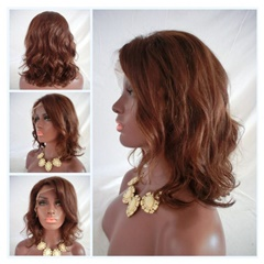 Grace Fantasy Lace Front Wig BOB Style Natural Wave  Remy Human Hair Short Natural Brown Color with Baby Hair Body Wave for Black Women