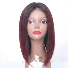 Grace Fantasy Ombre Lace Front Wig BOB Style Remy Human Hair Glueless Short Natural Black to Red with Baby Hair Silky Straight for Black Women
