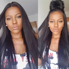 remy human hair lip in hair extensions Yaki straight Double Wefts clip in hair pieces thick natural black 8-26 inch 120g/set virgin hair