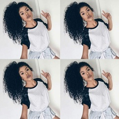 3B 3C Kinky Curly Human Hair Drawstring Ponytail Hair Extension Clip in Wrap Around Curly Ponytail Hair Extension Hairpiece Natural Color