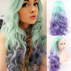 Women Long Wigs Glueless Synthetic Lace Wig with Baby Hair Celebrity Style Wigs  Wavy Synthetic Lace Front Wigs Bleached Knot Mint Green Ombre Purple