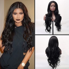 Long Natural Wavy Black Hair Wigs #1b Heat Resistant Fiber Hair Synthetic Lace Front Wigs