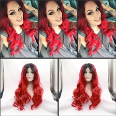High quality two tone lace front synthetic wigs for sale black ombre red synthetic wigs black women