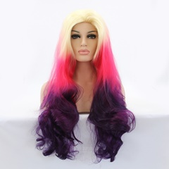 Blonde/Pink/Purple Three tone lace wigs synthetic for african american Synthetic Lace Front Wigs for Black Women