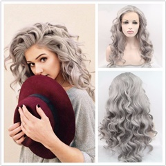 Gray Grey Synthetic Lace Front Wigs Wavy Wigs Heat Resistant Fiber Hair