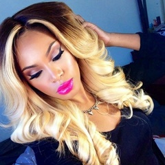Ombre black to blonde synthetic lace front wigs Heat resistant hair  blonde wig synthetic lace front body wave