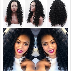 Fashion Curly Synthetic Lace Front Wigs Heat Resistant Color #1B Cheap Synthetic Lace Front Wigs For Black Women