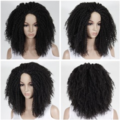 Top quality afro curly kinky curly synthetic lace front wigs heat resistant african american wigs long curly lace front wigs for black women