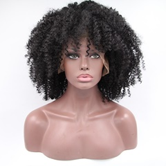 Popular Natural Kinky Curly Synthetic Lace Wigs 18inch synthetic Kinky Curly Front Lace Wigs For Black Women for sale In Stock
