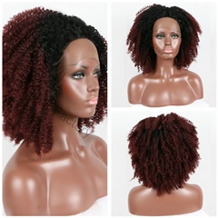 Best Synthetic Lace Front Wigs Ombre 1B/99j burgundy Synthetic Hair Wigs With Baby Hair and Hairline Ombre Curly Hair Wigs
